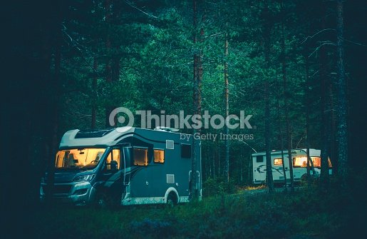 motorhome camping in a wild ストックフォト thinkstock