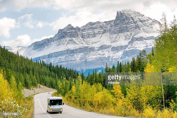 Motorhome drives through mountains