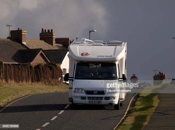 Motorhome driving down a small road Bude Cornwall