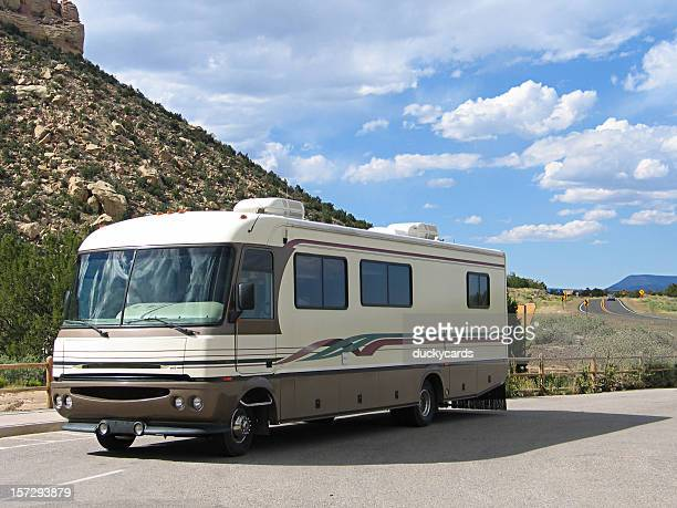 Motorhome parked at a scenic location in New Mexico USA