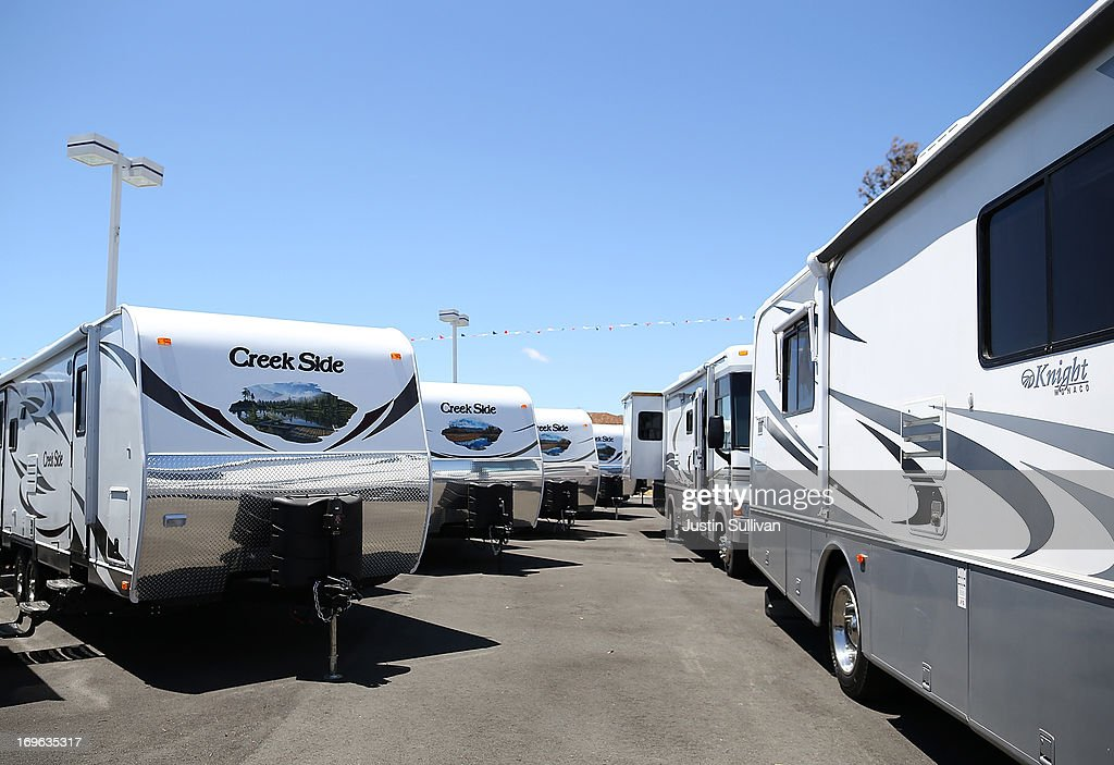 Motorhomes and towable RVs are displayed at Cordelia RV on May 29, 2013 in Fairfield, California. Deliveries of motor homes and towable RVs to dealers surged 11 percent in the first quarter and the RV industry anticipates a total of 307,300 units will be shipped this year, the highest number since 2007.