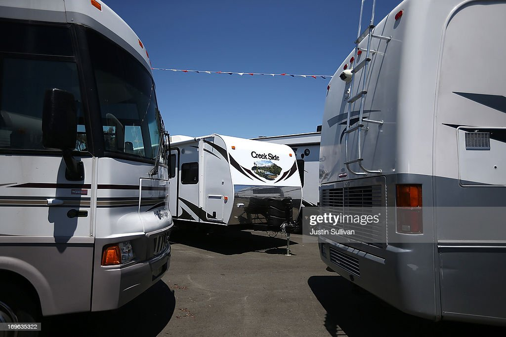 Motorhomes and tow-able RVs are displayed at Cordelia RV on May 29, 2013 in Fairfield, California. Deliveries of motor homes and towable RVs to dealers surged 11 percent in the first quarter and the RV industry anticipates a total of 307,300 units will be shipped this year, the highest number since 2007.