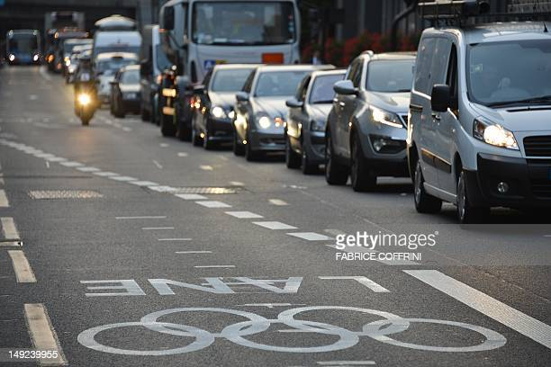 Motorists are unglued in traffic jam as they leave central London on July 25 2012 ahead of the start of the London 2012 Olympic Games London...
