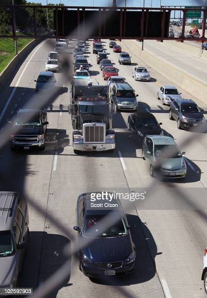 Motorists hit the road for the start of the Fourth of July holiday weekend on July 2 2010 in Chicago Illinois According to the American Automobile...