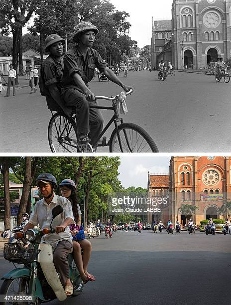 In this beforeandafter composite image 'Liberation' of Ho Chi Minh Vietnam in July 1975North Vietnamese fighters on a Chinese bicycle CITY VIETNAM...