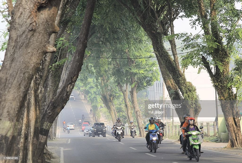 Motorists pass through haze pollution on June 20, 2013 in Bintan Island, Indonesia. The haze, which is created by the illegal burning of forestry in Sumatra in order to make way for palm plantations, is enveloping much of Indonesia, Malaysia and Singapore.