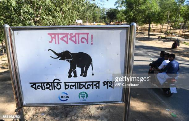 Motorists ride past a sign that reads 'Warning Route for Wild Elephants' near Bangladesh's Balukhali camp for Rohingya refugees on October 14 2017...
