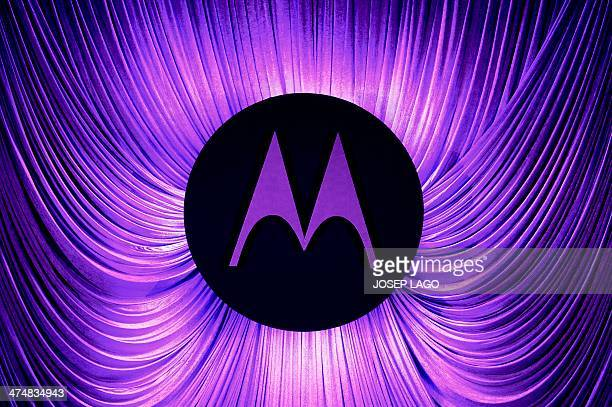 A Motorola logo is seen before a press conference by Motorola during the 2014 Mobile World Congress in Barcelona on February 25 2014 The Mobile World...