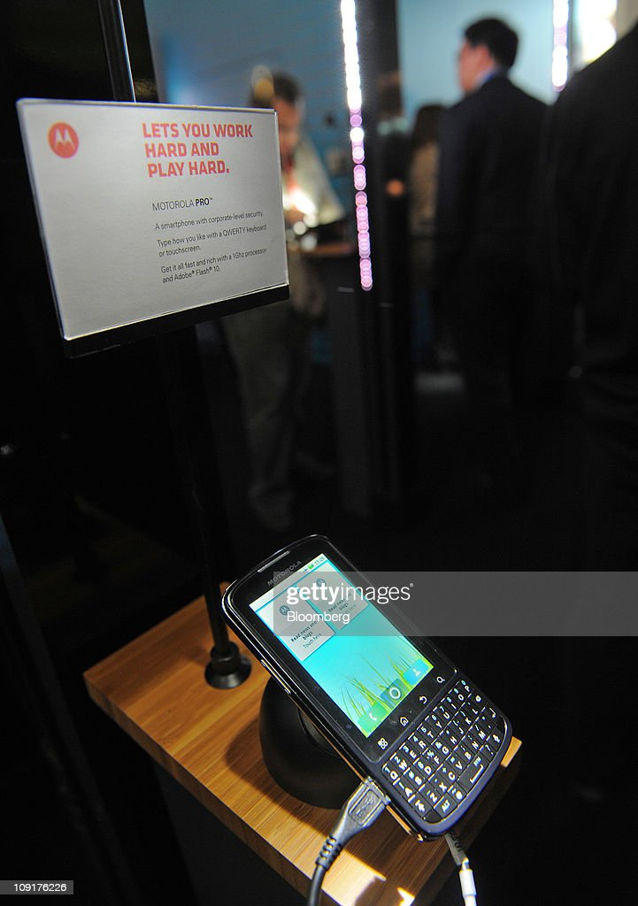 A Motorola Mobility Holdings Inc. Pro mobile handset is seen on display at the Mobile World Congress in Barcelona, Spain, on Wednesday, Feb. 16, 2011. Motorola Mobility Holdings Inc. introduced a tablet computer called Xoom last month that runs on Android. Photographer: Denis Doyle/Bloomberg via Getty Images