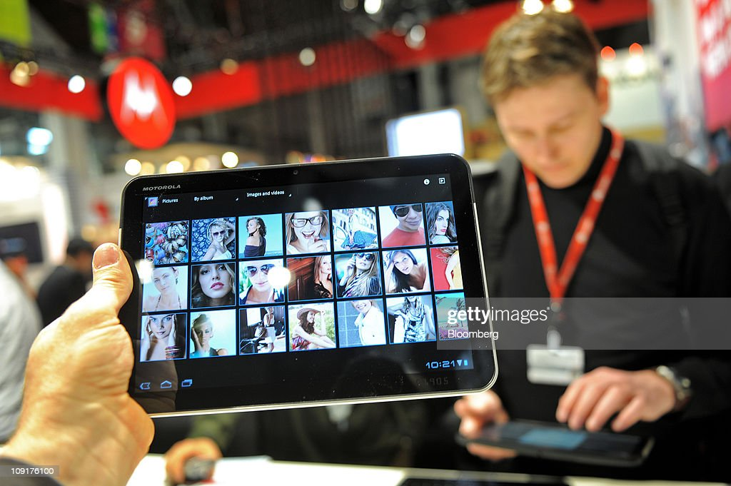 A Motorola Mobility Holdings Inc. Xoom tablet device is arranged for a photograph at the Mobile World Congress in Barcelona, Spain, on Wednesday, Feb. 16, 2011. Motorola Mobility Holdings Inc. introduced a tablet computer called Xoom last month that runs on Android. Photographer: Denis Doyle/Bloomberg via Getty Images