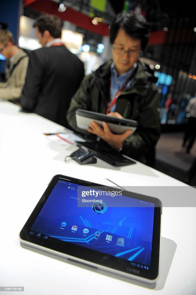 A Motorola Mobility Holdings Inc. Xoom tablet device is seen on display at the Mobile World Congress in Barcelona, Spain, on Wednesday, Feb. 16, 2011. Motorola Mobility Holdings Inc. introduced a tablet computer called Xoom last month that runs on Android. Photographer: Denis Doyle/Bloomberg via Getty Images