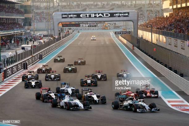 FIA Formula One World Championship 2014 Grand Prix of Abu Dhabi start #6 Nico Rosberg #19 Felipe Massa #22 Jenson Button #7 Kimi Raikkonen #14...