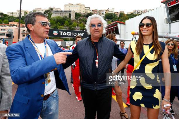 FIA Formula One World Championship 2014 Grand Prix of Monaco Antonio Banderas Flavio Briatore and his wife Elisabetta Gregoraci