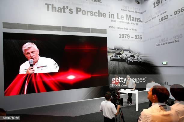 FIA WEC 2015 24 Heures du Mans PorschePressekonferenz 24StundenRennen von Le Mans Wolfgang Hatz Vorstand Forschung und Entwicklung Porsche AG