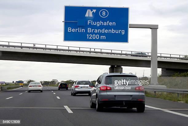Motorway in front of the Schoenefelder Kreuz in the direction of the Airport BBI in Schoenefeld