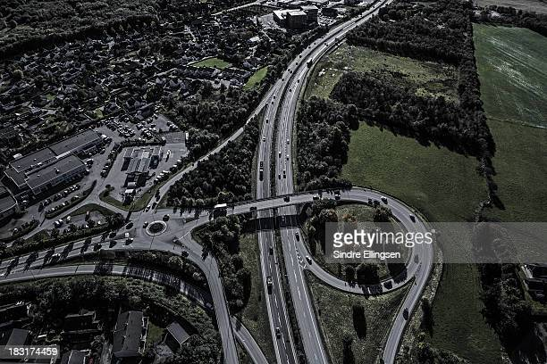 Motorway splitting city from farmland