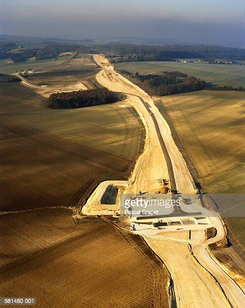 Motorway under construction, aerial view, France