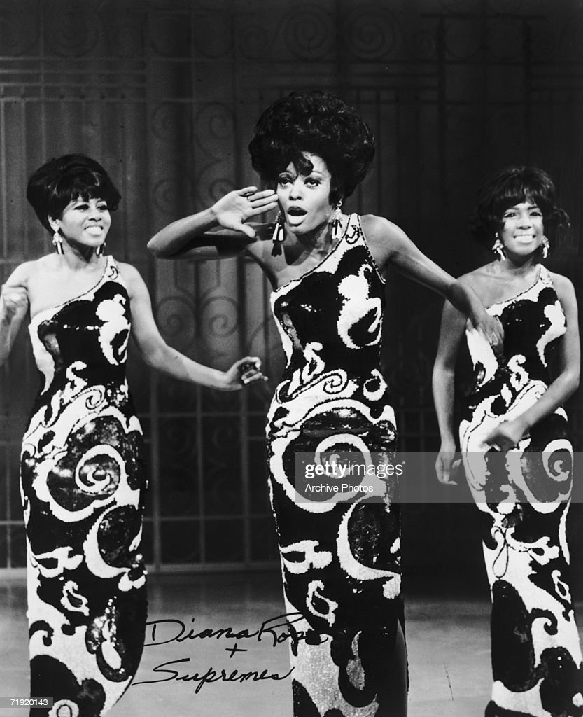 Motown girl group The Supremes performing mid 1960s from left to right Cindy Birdsong Diana Ross and Mary Wilson