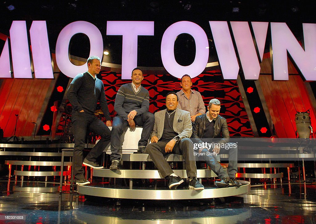 Motown legend Smokey Robinson joins Australian vocal group Human Nature Phil Burton Andrew Tierney Toby Allen and Michael Tierney at a rehearsal in...