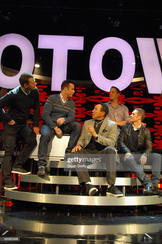 Motown legend <a gi-track='captionPersonalityLinkClicked' href=/galleries/search?phrase=Smokey+Robinson&family=editorial&specificpeople=210698 ng-click='$event.stopPropagation()'>Smokey Robinson</a> (C) joins Australian vocal group Human Nature (L-R) <a gi-track='captionPersonalityLinkClicked' href=/galleries/search?phrase=Phil+Burton&family=editorial&specificpeople=711200 ng-click='$event.stopPropagation()'>Phil Burton</a>, Andrew Tierney, <a gi-track='captionPersonalityLinkClicked' href=/galleries/search?phrase=Toby+Allen&family=editorial&specificpeople=209266 ng-click='$event.stopPropagation()'>Toby Allen</a> and Michael Tierney at a rehearsal in preparation for their opening show at The Venetian on February 21, 2013 in Las Vegas, Nevada.
