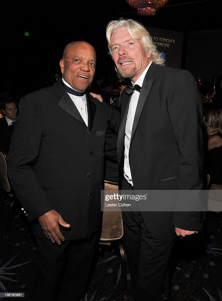 Motown Records founder <a gi-track='captionPersonalityLinkClicked' href=/galleries/search?phrase=Berry+Gordy+Jr.&family=editorial&specificpeople=1541919 ng-click='$event.stopPropagation()'>Berry Gordy Jr.</a> (L) and honoree Sir <a gi-track='captionPersonalityLinkClicked' href=/galleries/search?phrase=Richard+Branson&family=editorial&specificpeople=220198 ng-click='$event.stopPropagation()'>Richard Branson</a> attend Clive Davis and The Recording Academy's 2012 Pre-GRAMMY Gala and Salute to Industry Icons Honoring <a gi-track='captionPersonalityLinkClicked' href=/galleries/search?phrase=Richard+Branson&family=editorial&specificpeople=220198 ng-click='$event.stopPropagation()'>Richard Branson</a> at The Beverly Hilton hotel on February 11, 2012 in Beverly Hills, California.