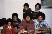 Motown singers the Jackson brothers Jackie Tito Jermaine Marlon Michael and Randy in London October 1972 They were collectively known as the Jackson...