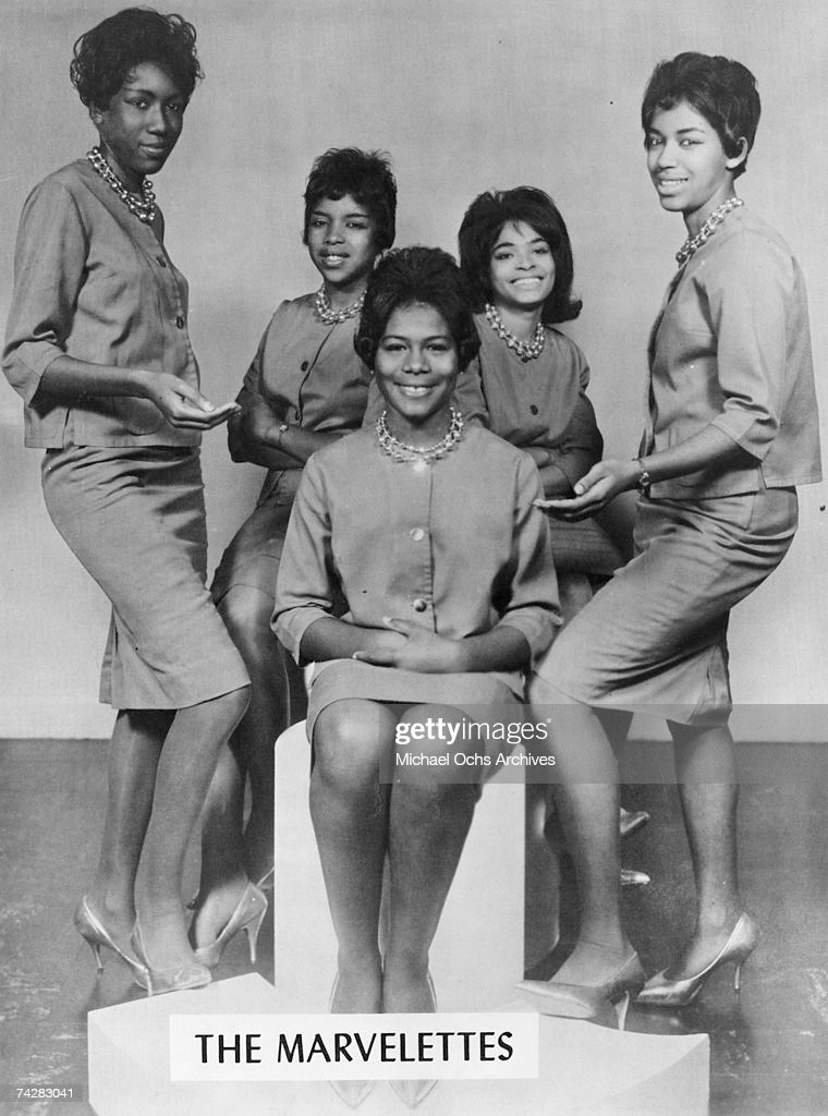 Motown singing group The Marvelettes LR Katherine Anderson Juanita Cowart Gladys Horton Wanda Young and Georgeanna Tillman pose for a portrait circa...