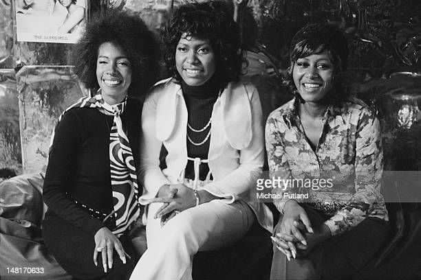 Motown vocal group The Supremes at the Sloop John D restaurant in London 12th November 1971 Left to right Mary Wilson Jean Terrell and Cindy Birdsong