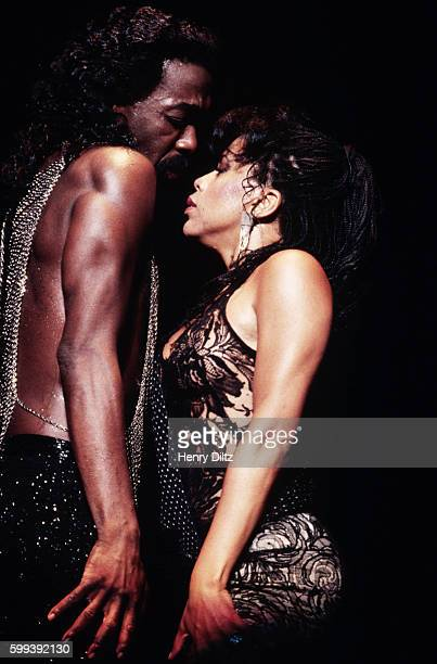 Motown's singing and songwriting duo Valerie Simpson and Nickolas Ashford perform in a 1985 concert The husband and wife team wrote hits for artists...