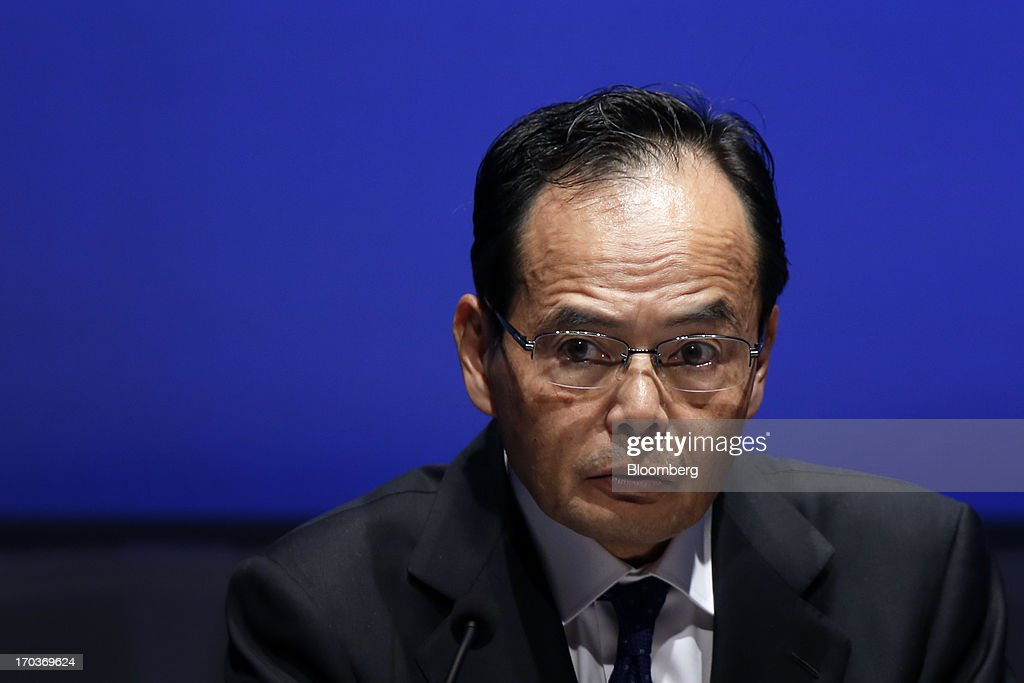 Motoya Okada, president and group chief executive officer of Aeon Co., pauses as he speaks during the Global Summit of the Consumer Goods Forum 2013 in Tokyo, Japan, on Wednesday, June 12, 2013. The summit runs from June 12 to June 14. Photographer: Kiyoshi Ota/Bloomberg via Getty Images