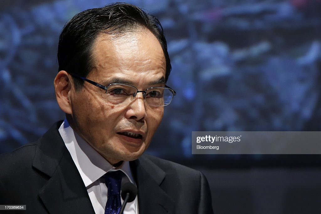 Motoya Okada, president and group chief executive officer of Aeon Co., speaks during the Global Summit of the Consumer Goods Forum 2013 in Tokyo, Japan, on Wednesday, June 12, 2013. The summit runs from June 12 to June 14. Photographer: Kiyoshi Ota/Bloomberg via Getty Images
