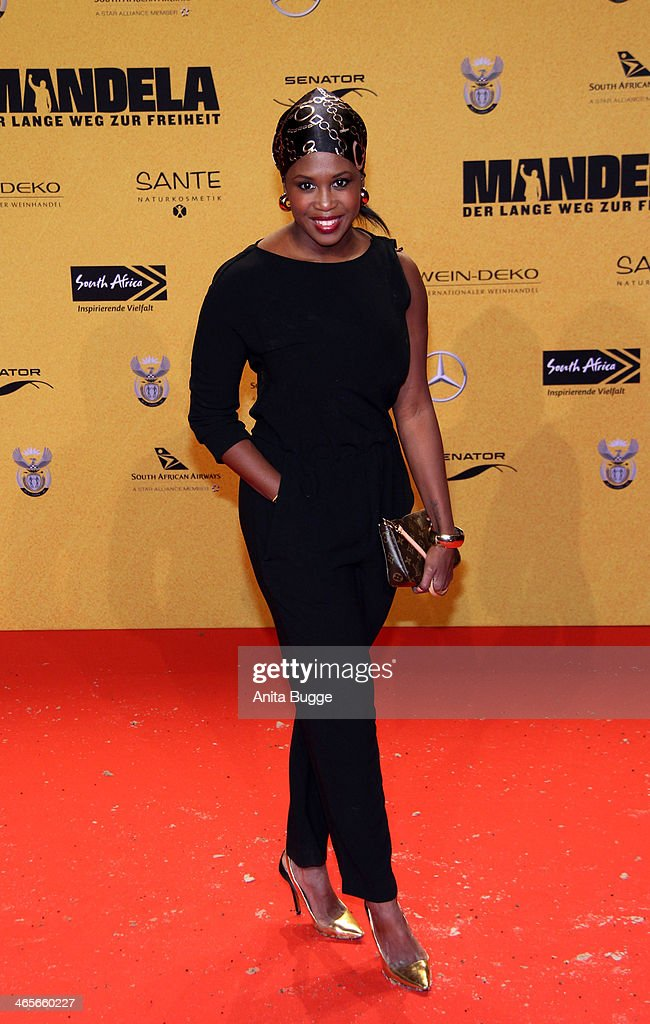 <a gi-track='captionPersonalityLinkClicked' href=/galleries/search?phrase=Motsi+Mabuse&family=editorial&specificpeople=4279033 ng-click='$event.stopPropagation()'>Motsi Mabuse</a> attends the premiere of the film 'Mandela: Long Walk to Freedom' (Mandela: Der lange Weg zur Freiheit) at Zoo Palast on January 28, 2014 in Berlin, Germany.