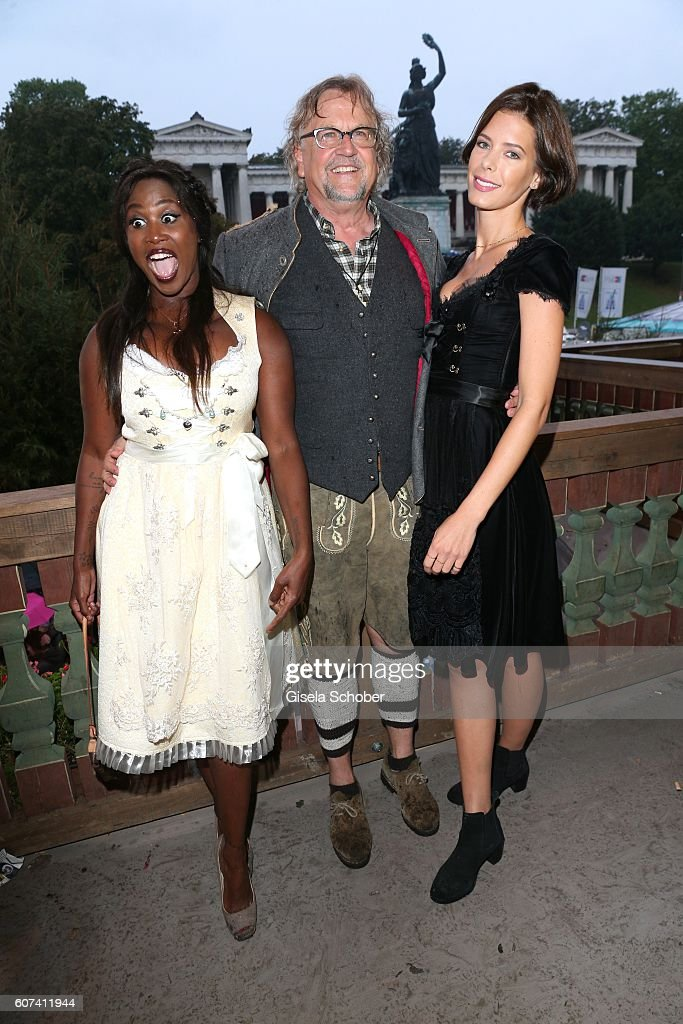 Motsi Mabuse, Martin Krug and his girlfriend Julia Trainer during the opening of the oktoberfest 2016 at the 'Kaeferschaenke' beer tent at Theresienwiese on September 17, 2016 in Munich, Germany.