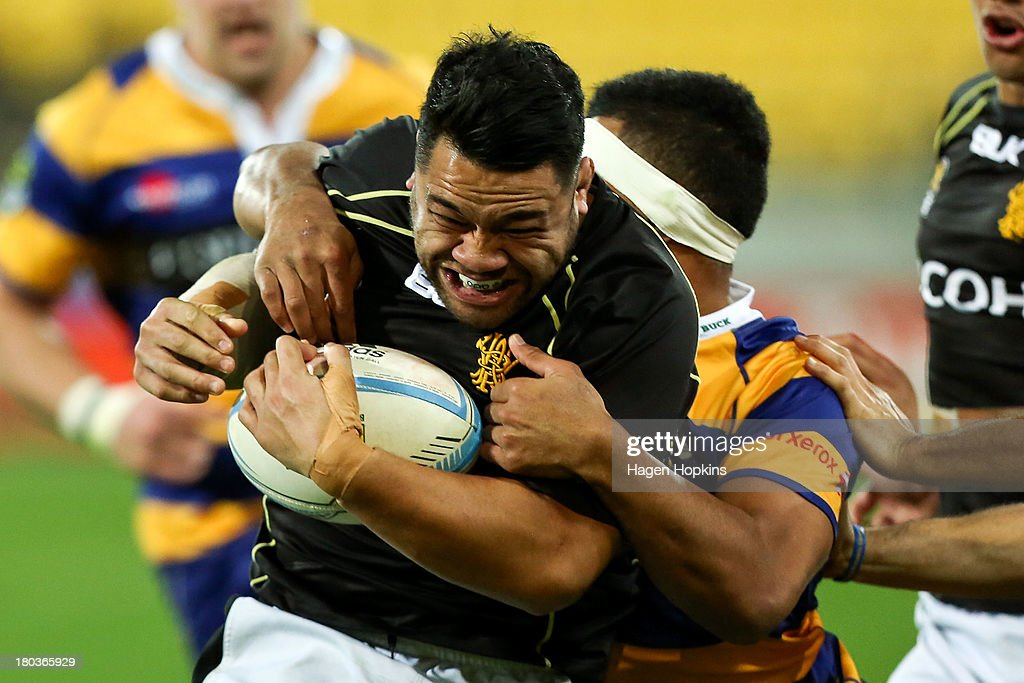Motu Matu'u of Wellington is tackled during the round 5 ITM Cup match between Wellington and the Bay of Plenty at Westpac Stadium on September 12, 2013 in Wellington, New Zealand.