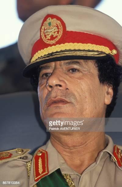 Mouammar Kadhafi lors des ceremonies commemorant le 25e anniversaire de la Revolution lybienne