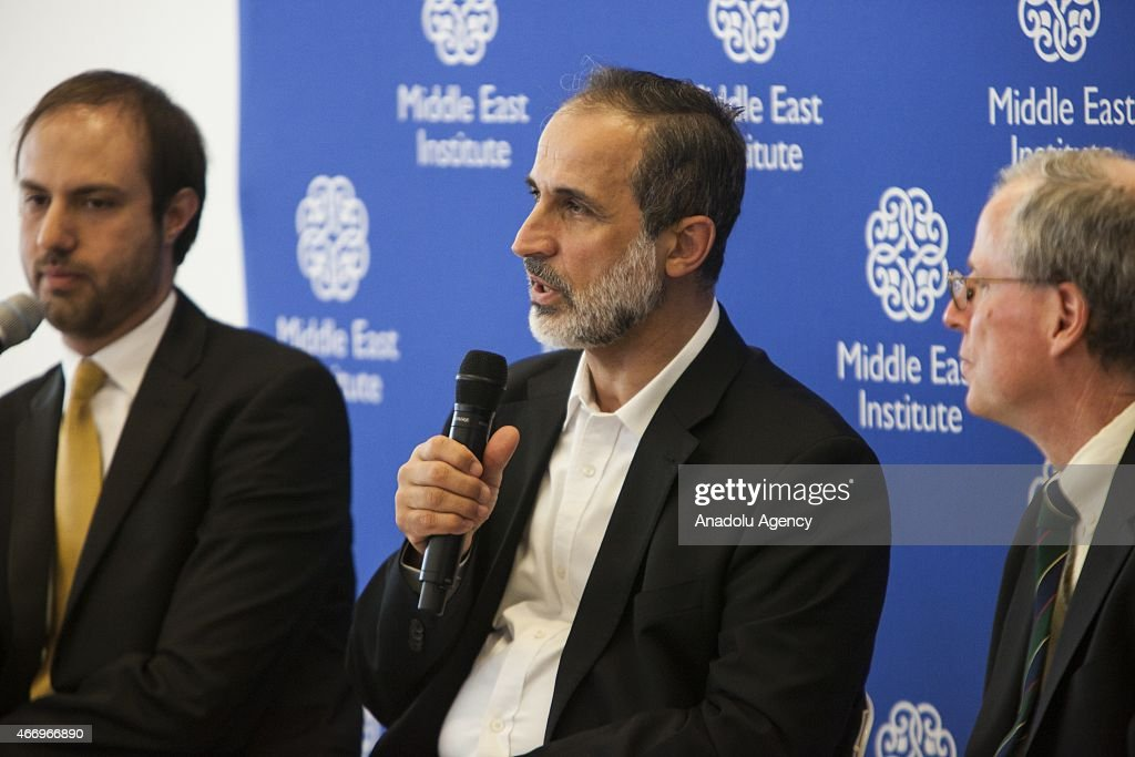Mouaz Al-Khatib (C), president of the Syrian National Council, speaks during an event co-hosted by the Center for the Study of Islam and Democracy in Washington, USA on March 19, 2015.