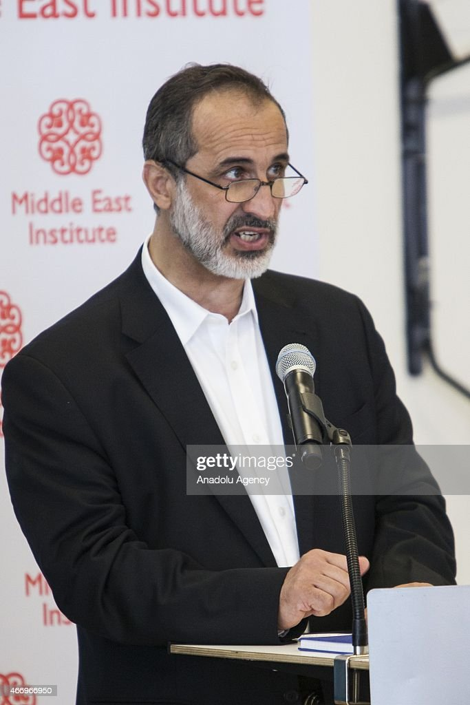 Mouaz Al-Khatib, president of the Syrian National Council, speaks during an event co-hosted by the Center for the Study of Islam and Democracy in Washington, USA on March 19, 2015.