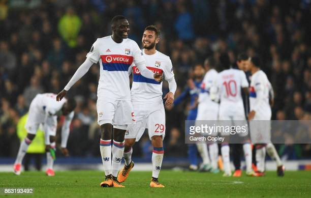 Mouctar Diakhaby and Lucas Tousart of Lyon celebrate victory after the UEFA Europa League Group E match between Everton FC and Olympique Lyon at...