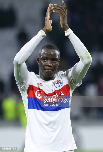 Mouctar Diakhaby of Lyon celebrates the victory following the UEFA Europa League group E match between Olympique Lyonnais and Everton FC at Groupama...