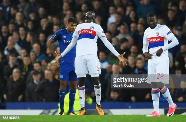 Mouctar Diakhaby of Lyon celebrates victory after the UEFA Europa League Group E match between Everton FC and Olympique Lyon at Goodison Park on...