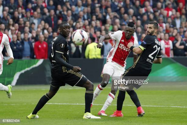 Mouctar Diakhaby of Olympique Lyonnais Bertrand Traore of Ajax Maxime Gonalons of Olympique Lyonnaisduring the UEFA Europa League semi final match...