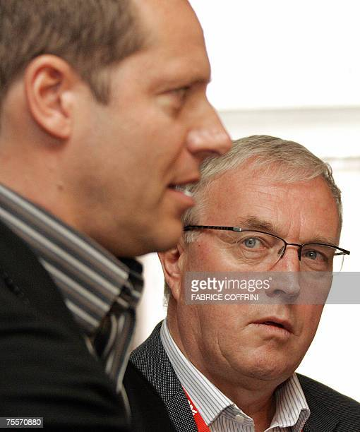 File picture taken 04 May 2005 of International Cycling Union President Pat McQuaid listening to Tour de France director Christian Prudhomme during a...