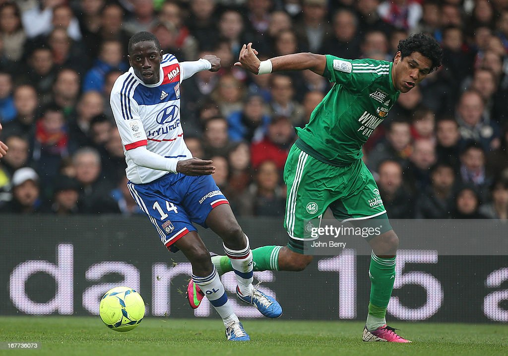 Mouhamadou Dabo of Lyon and Brandao of Saint-Etienne in action during the Ligue 1 match between Olympique Lyonnais, OL, and AS Saint-Etienne, ASSE, at the Stade Gerland on April 28, 2013 in Lyon, France.