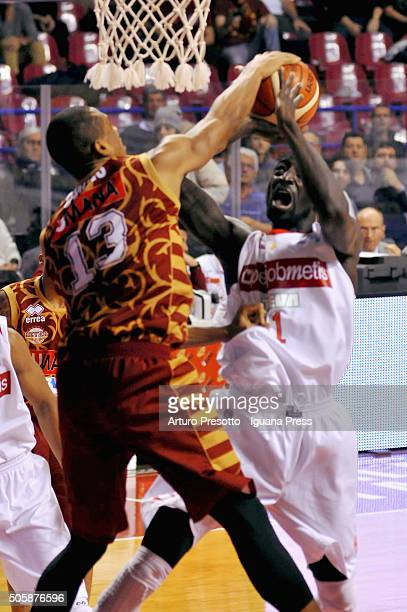 Mouhammad Faye of Openjobmetis competes with Josh Owens of Umana during the match of LegaBasket between Reyer Umana Venezia and Openjobmetis Varese...