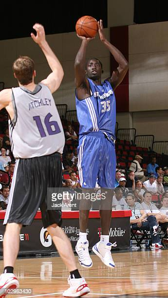 Mouhammad Faye of the Dallas Mavericks shoots the ball against the Sacramento Kings during the NBA Summer League on July 18 2010 at Cox Pavilion in...