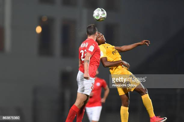 Mouhamoudou Diallo of Brest and Anthony Briancon of Nimes during the Ligue 2 match between Nimes Olympique and Brest on October 20 2017 in Nimes...
