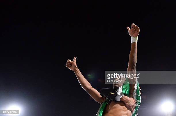 Mouhssine Iajour of Casablanca celebrates after winning the FIFA Club World Cup Semi Final match between Raja Casablanca and Atletico Mineiro at...