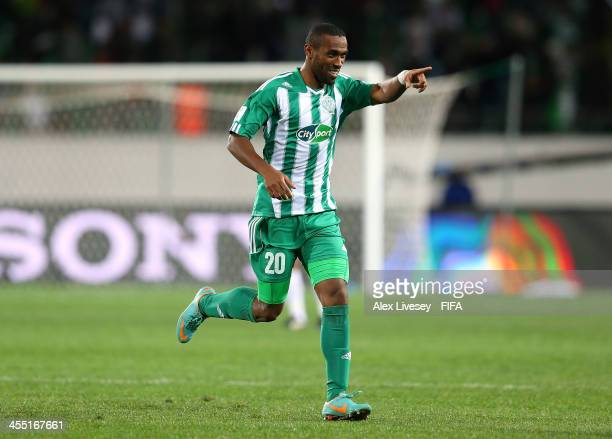 Mouhssine Iajour of Raja Casablanca celebrates after scoring the opening goal during the FIFA Club World Cup PlayOff for the Quarter Final match...