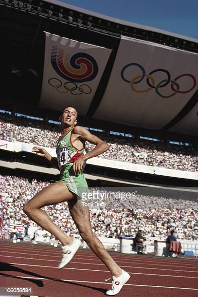 Moulay Brahim Boutaib of Morocco on his way to winning the 10000 Metres final race at the XXIV Summer Olympic Games on 27th September 1988 at the...