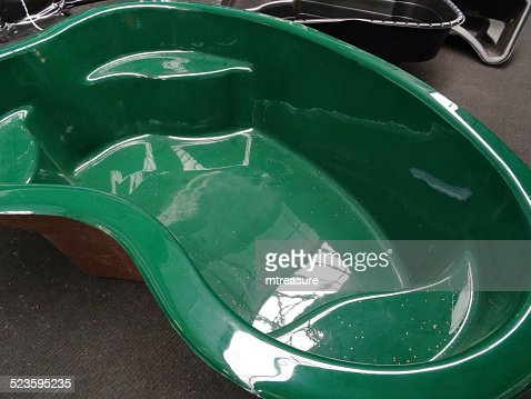 Moulded preformed green plastic garden pond highdensity for Poly fish pond